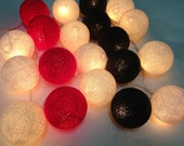 20 Lighting White-Red-Black Cotton Ball String Lights Ideal for Christmas Lights, Party Lighting, Bedroom Decor