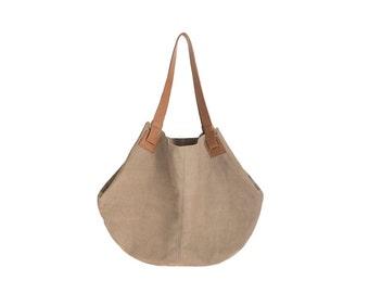 Light grey leather bag- leather handbag - Soft leather bag - Big Grey nubuck bag -  women bag