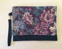 Handmade Vintage material maroon floral clutch purse