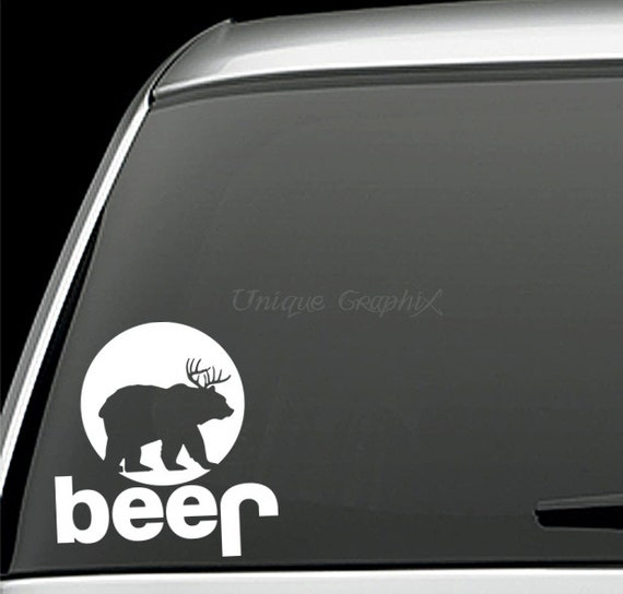 Jeep deer plus bear equals beer hunting vinyl by uniquegraphix for 1 plus 1 equals window