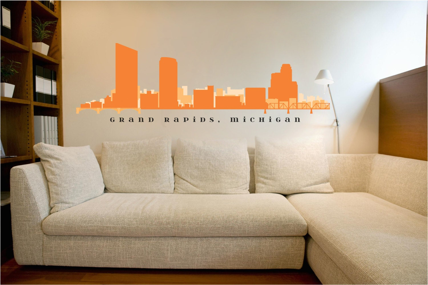 Grand rapids michigan skyline wall decal art vinyl removable for Real estate office wall decor