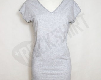 Dress, long tunic for women, v neckline perfect to leggins or wear it alone