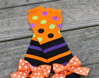 Halloween Leg Warmers, Orange and Black leg warmers, Baby leg warmers, Infant Leg warmers, Girls leg warmers, toddler leg warmers