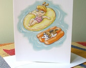Floating on rafts note card with envelope / blank inside / cute little girl & beagle dog on rafts in pool