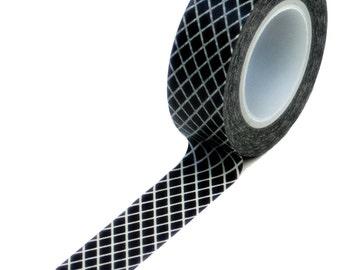 Black Fishnet Washi Tape, Gingham