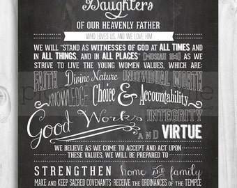 LDS Young Women theme poster - 11x14 or 8.5x11 printable