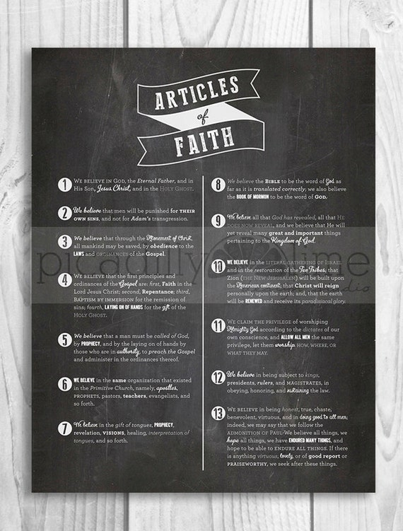 LDS Articles of Faith poster 11x14