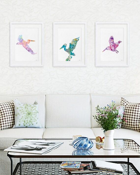 Pelican Art Prints 11x14 Print Set Of 3 Bird Art Print