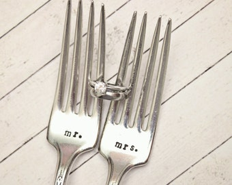 Mrs. and Mr. Wedding Forks - Hand Stamped Silverware Personalized Name Date - Vintage - Dinner Cake Forks - His and Hers - Bride Groom