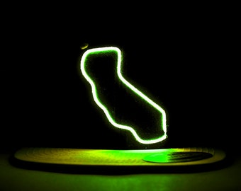 Light Up California State Hat made with El Wire in all colors; blue, green, orange, yellow, pink, purple, white