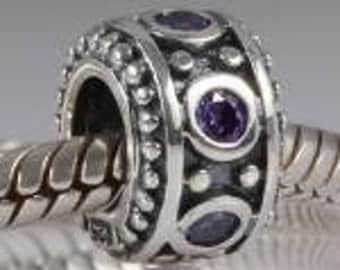Sterling Silver Charm Amethyst Cubic Zirconia Stones 925 no0612