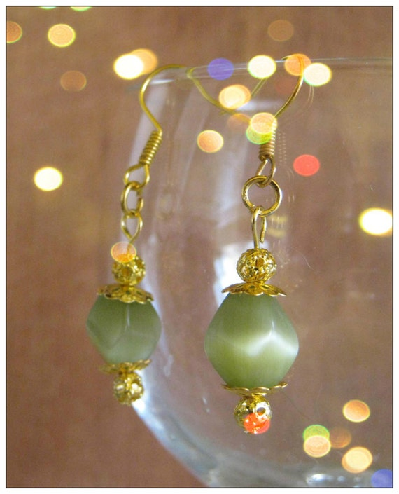 Handmade Gold Earrings with Shaped Green Cat Eye by IreneDesign2011