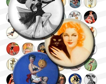 Vintage Halloween Pin Up Witches Pretty Digital Images Collage Sheet 1 inch Circles INSTANT Download BC33