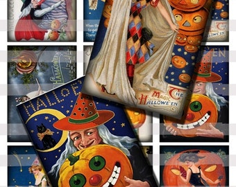 Vintage Halloween Witches Digital Collage Sheet Art Cards Tags 2.5x3.5 inch ATC ACEO Instant Download AC04