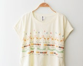 graphic shirt yellow cotton t-shirt women crop top women short sleeve illustration