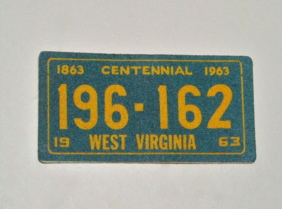 Vintage 60s West Virginia State License Plate Glitter Sticker Never Used 1963 Centennial