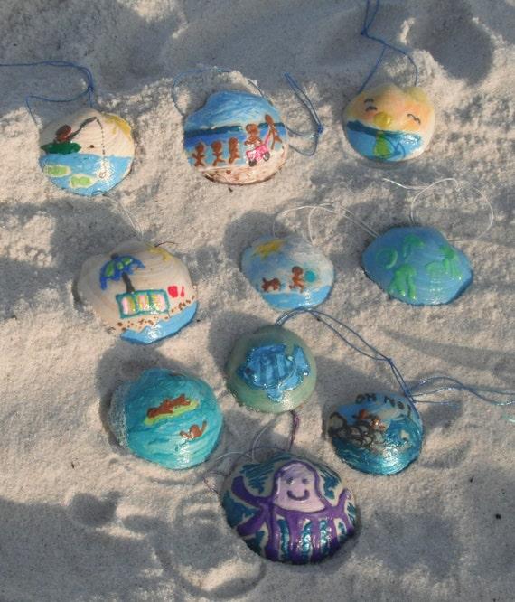 Items similar to beach themed painted dosinia shells for Beachy decor items