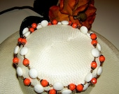 Vintage Forty Inch Single Strand Flapper Style Coral and White Bead Necklace