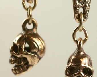 Alas poor Yorick Earrings - bronze skull dangle earrings
