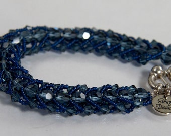 Crystal Blue Persuasion Bracelet - Swarovski crystals, glass seed beads and sterling silver
