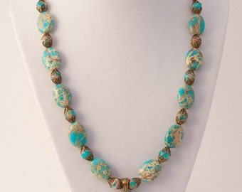 "20"" Turquoise Magnesite and Antiqued Brass Necklace"