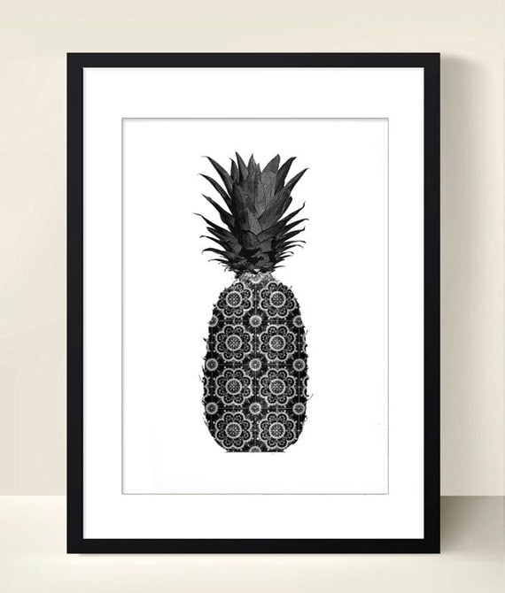hnliche artikel wie fr chte poster ananas poster digital download art collage instant. Black Bedroom Furniture Sets. Home Design Ideas