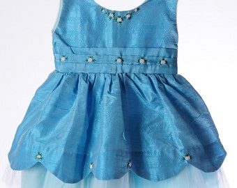 Blue and white-cinderella pattern-Easter Silk dress-2T