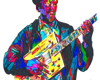 """Bo Diddley: POSTER from Original Drawing 18"""" x 24"""" Signed & Dated by Artist w/COA"""