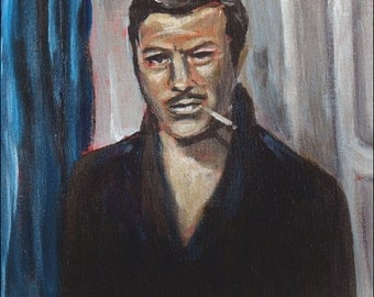 Art Print Reproduction // Handsome Devil // From Original Acrylic Painting // Portrait Painting // 16 cm x 16 cm // Cynthia Katz