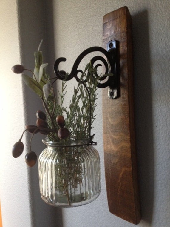 Full Length Oak Wine Barrel Stave Candle Sconce With Great