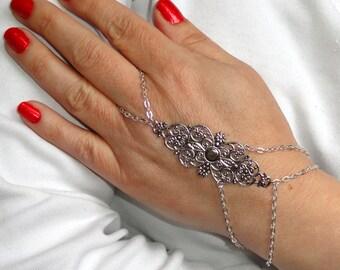 Slave bracelet, Silver slave bracelet ring, Silver hand bracelet ring, Bohemian hand jewelry, Silver bracelet ring