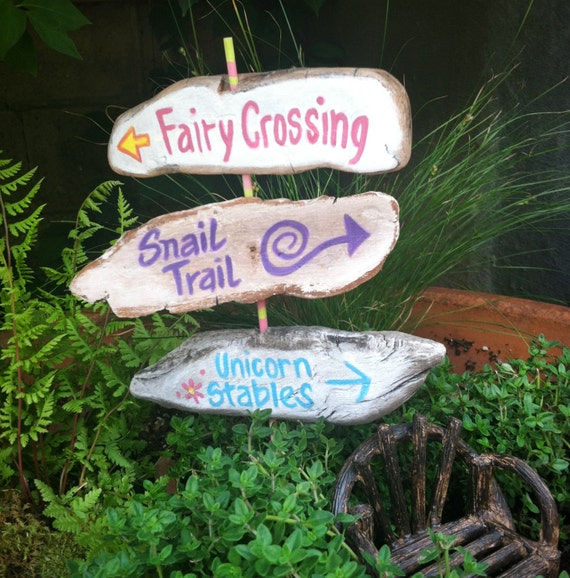 Garden Fairy Sign Post With 3 Signs Rustic Painted Signs