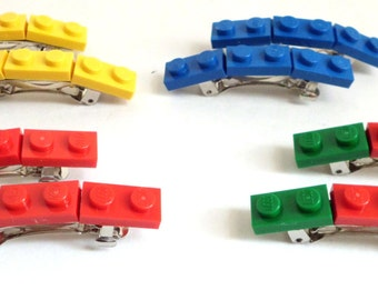 Lego Hair Barrettes made with Lego Bricks, party favors - Four Pairs