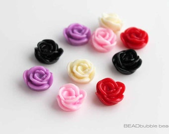 Resin Rose Flower 15mm Flat Back Cabochons Pack of 10 Mixed Colours (CAB206)