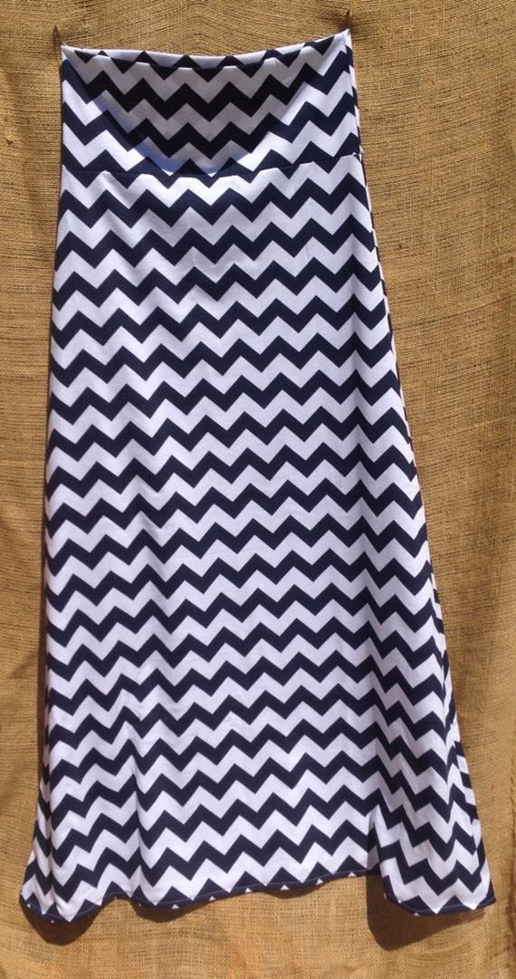 womens chevron maxi skirt navy blue by j2boutique on etsy