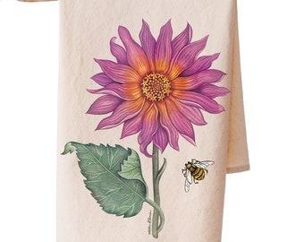 Organic Cotton Pink Sunflower Teatowel