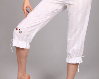 Comfortable summer drawstring cotton trousers for women