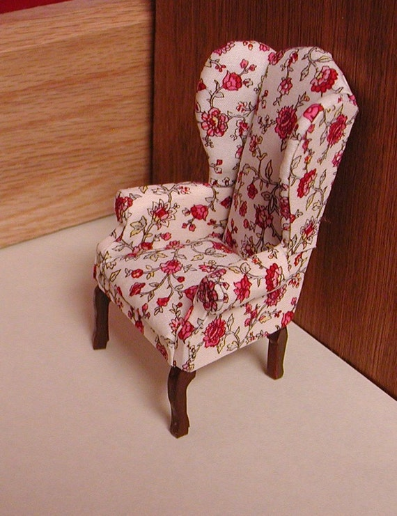 Queen Anne Wingback Chair Upholstered In A Floral Crewel Like