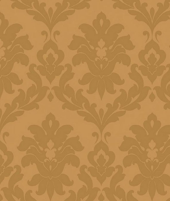large damask wallpaper gold metallic tonal modern victorian