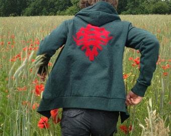 Red bug Hoodie Green