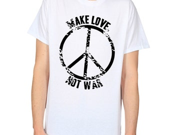 Make Love Not War T-shirt, Peace Symbol Tee, Anti-War Slogan Graphic Tee