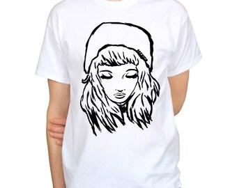 Pretty Hipster Girl Art T-Shirt