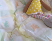 Peach and Mint Green Bears Baby Blanket, vintage, baby, vintage gift, baby gift, peach blanket, bear blanket, baby blanket