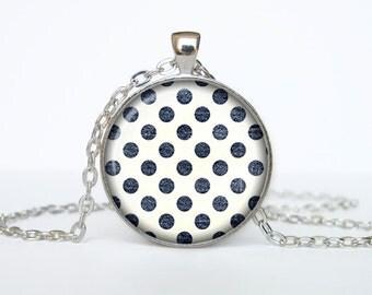 Polka dot pendant Retro Polka dot necklace Retro Polka dot jewelry sign necklace