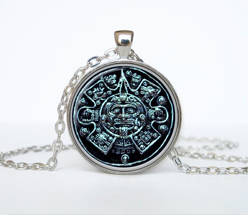 aztec calendar necklace sun pendant aztec calendar