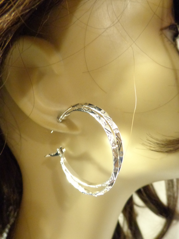 1 double hoop earrings silver tone hoop earrings. Black Bedroom Furniture Sets. Home Design Ideas