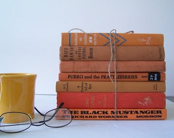 Vintage Books FREE SHIPPING Instant Collection Orange Earth Tomes