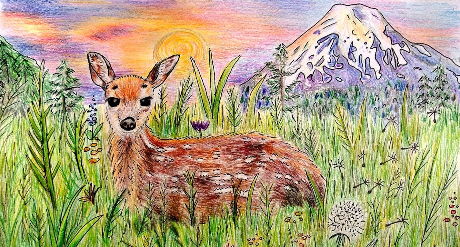original colored pencil drawing mountain deer animal art