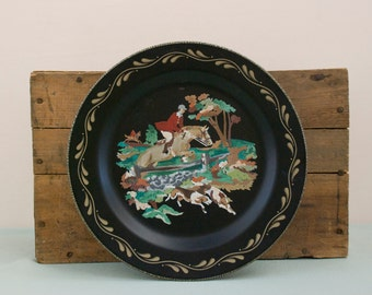 Vintage Hunting Scene Paint by Number Tin Plate Wall Hanging FREE SHIPPING