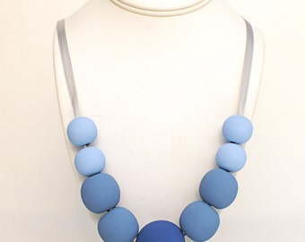 Ombre Wood Bead Necklace - Blue Wood Necklace - Wooden Necklace - Handpainted Necklace - Blue Necklace